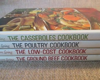 Vintage 1970's Southern Living Cookbooks,Oxmoore House,Poultry Cookbook,Casseroles Cookbook,Ground Beef Cookbook and Low-Cost Cookbook