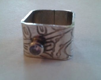 Handmade Silver Etched Cubic Zarconia Square Ring Size 6