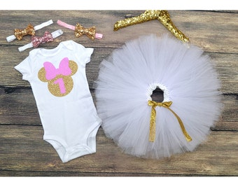 Minnie Mouse First Birthday Outfit, Minnie Mouse Party, First Birthday Party, One year old onesie, princess Girl.