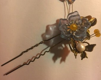 Transparent Blue Flower Pin