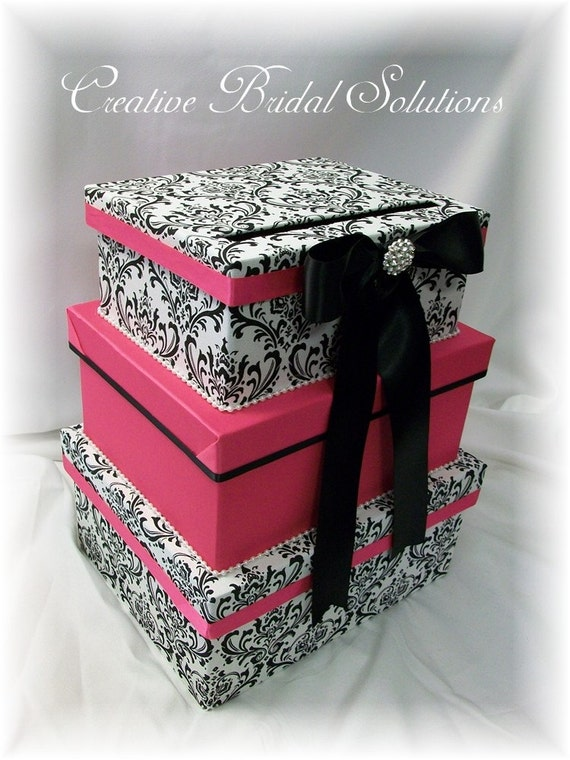 Black And White Wedding Gift Card Box : Black and White Madison Damask with Fuchsia Pink Wedding Money