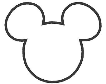 Mickey Mouse Head Embroidery Applique Design.  5 Hoop Sizes