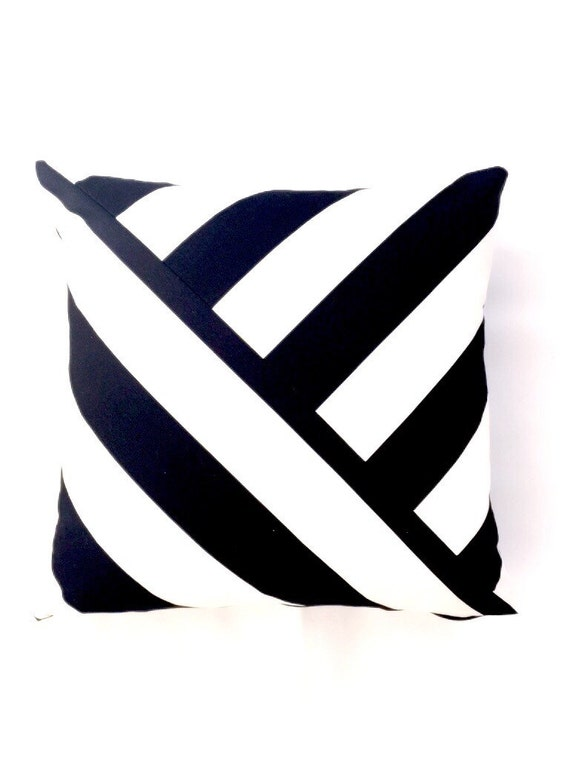 Black and White striped Pillow Cover by Homeandfabulous on