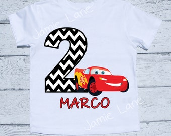 Cars Lightning Mcqueen Birthday Personalized boy Tee shirt