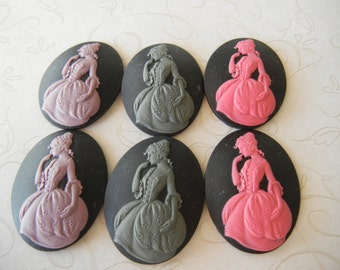 40x30 mm mix color Standing Shy Victorian Lady Cameos Cameo Cabachon