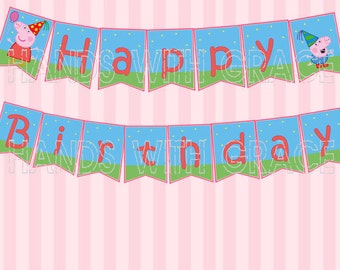 Printable Banner Peppa Pig party