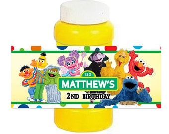 Elmo Sesame Street Bubble labels Birthday favor label 4oz  Wrappers Stickers
