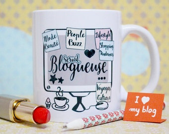 "Mug ""Serial blogger"". Customizable Cup. Gift for blogger. Text and graphics by Piou creations"