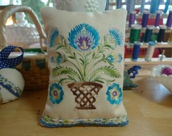 Lavender Sachet Wycinanki Embroidered