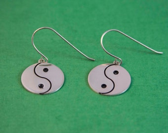 Yin and Yang Earrings - Sterling Silver / Silver Yin & Yang / Earrings / Special Earrings / Earrings gift for her
