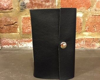 Handmade Soft Cover Pocket Sized Black Faux Leather Journal with Snap