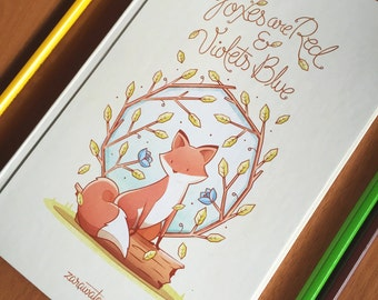 Foxes are Red and Violets Blue- Stitched Notebook