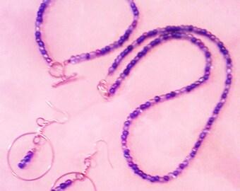 Blue Glass Bead Necklace Set