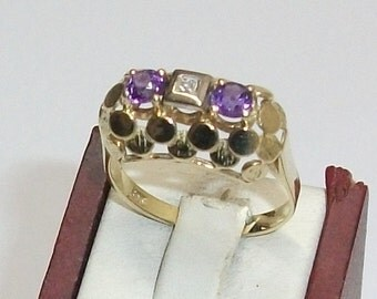 585er gold ring with Amethyst 14kt 18.1 mm GR102