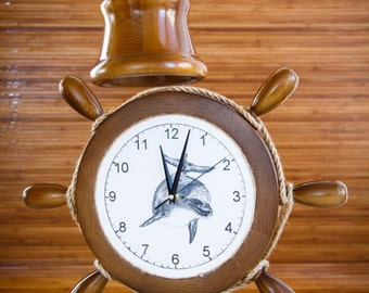 Wooden Desk Lamp/Clock, Marine Style, Nautical Home Decor, Sea Style for Yacht