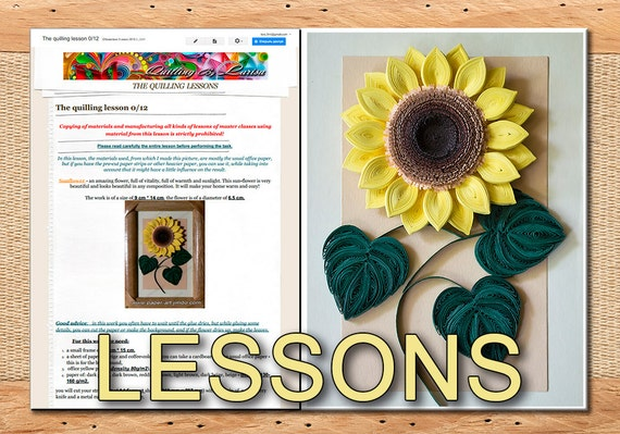 Two Quilling Lessons Demo PDF Art Tutorial  Digital Book - Sunflower Flowers Leaves Yellow flowers Pink bells Tutorial in handmade.