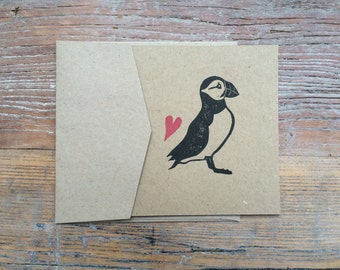 Hand Printed Puffin and Heart Greetings Card - Block Printed on Recycled Card