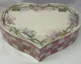 Tole Painted Heart Shaped Trinket Box
