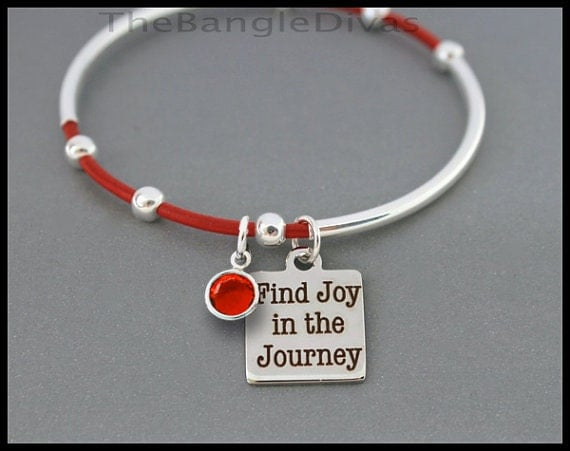 Find joy in the journey birthstone leather bangle double and single