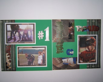 Football Scrapbook layout pages premade 12 by 12 football premade layout football album pages ready for 4 by 6 photos