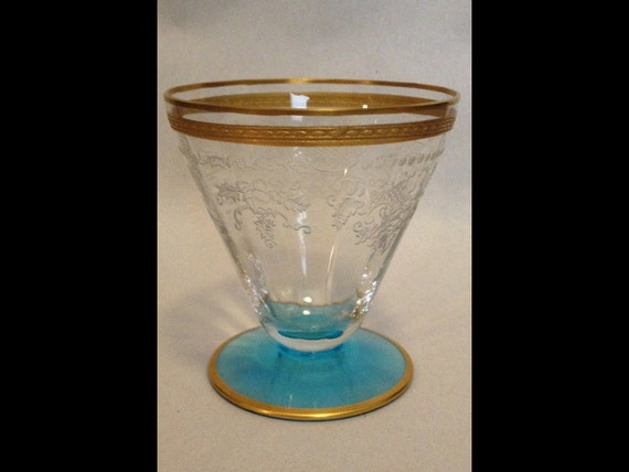 "FREE SHIPPING-Rare-Elegant-Vintage-1920's-Fostoria Glass Co.-Delphian-Etched-Blue Base-Duchess-Gold-Trim-Crystal-3 1/4""-Fruit Cocktail-Glass"