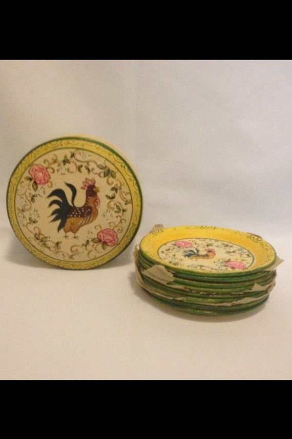 FREE SHIPPING-Complete Set Of 8-Vintage-Rare-Yellow-French-Country-ISCO-Made In-Japan-Rooster & Roses-Hand Painted-Paper Mache-Tole-Coasters
