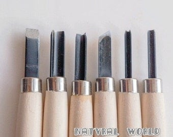 set of 6 Rubber Stamp Carving Tool - Metal Head Rubber Graver Set  - Carving Knife - Wood Carving Tools for Handmade Rubber Stamps
