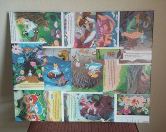"Decoupage on 16""x20"" Canvas - Disney's Alice in Wonderland Storybook Pages"