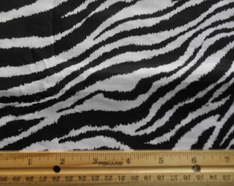 Zebra cotton fabric by the yard black and white