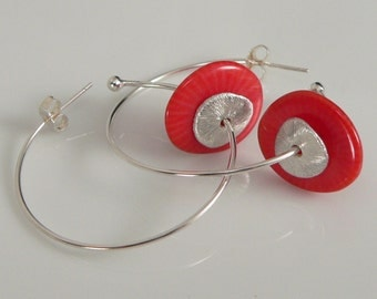 Red Bamboo Coral and Sterling Silver findings.