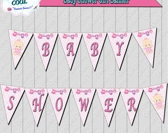 Girl Baby Shower Banner, Baby Shower decoration