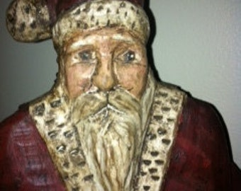 Hand Carved Santa Pull-Toy By Kurin Wickard Signed and Dated