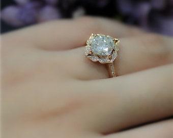 Art Deco Engegement Ring 7mm Cushion Brilliant Moissanite Wedding Ring Solid 14K Rose Gold Wedding Ring Promise Ring Anniversary Ring