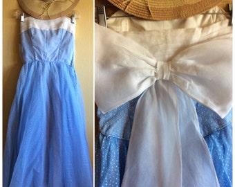 Vintage 60s Blue Swiss Dot Alice In Wonderland Dress
