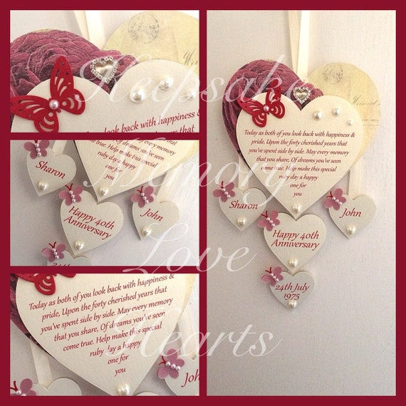 40th Ruby Anniversary Gift Personalised Wooden Keespake Heart