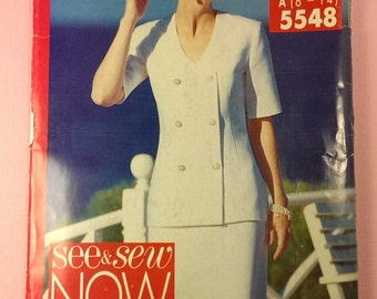 Butterick See & Sew Now 5548 OOP pattern out of print, vintage pattern Misses Top and Skirt Size A 6, 8, 10, 12, 14 uncut sewing pattern