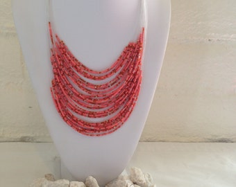 Coral Color Pink Necklace Earring Set
