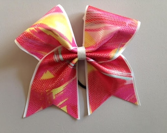 Cheer Hair Bow Orange Red Yellow
