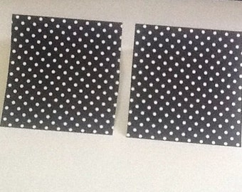 9 White Polka Dots on Black Cardstock Mini Note Cards