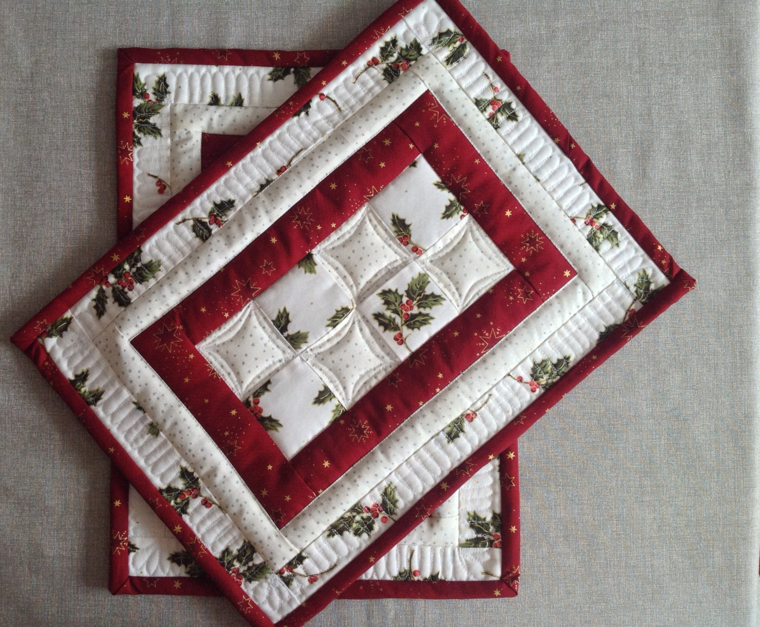 Christmas Placemats Quilted Placemats Red And White