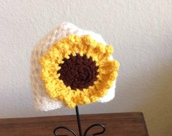 Toddler Sunflower hat, crochet hat, knit hat , girls hat, girls winter hat, J