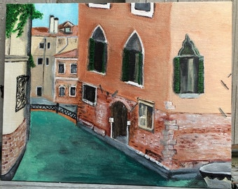 Acrylic Painting of a Canal in Venice, Italy