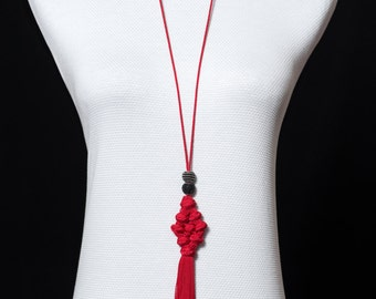 Red pompon necklace