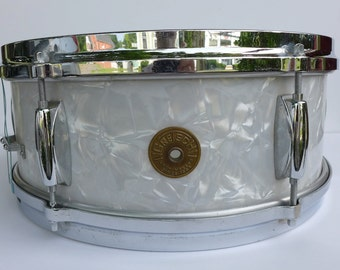Vintage 1960s Gretsch White Pearl Snare Drum