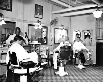 to Barber Shop Decor - Vintage Barber Chair Photo - 5x7