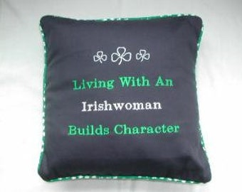 Embroidered Irishwoman Pillow