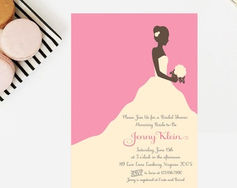 Bride Silhouette Bridal Shower (A7) 5x7 Invitation - DIY Printable
