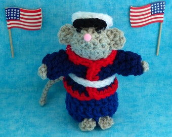 Military Mouse - your choice:  Soldier, Sailor, Airman or Marine.  Patriotic Decorations, Party Decorations, Americana, Military Decorations