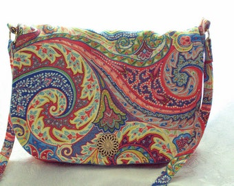 PAISLEY ON RED/cross body/messenger bag/purse with red leather