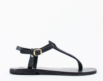 Women Leather Sandals, Thong sandals, Thong Sandals, Black sandals, Sandals for women, Griechishe sandale
